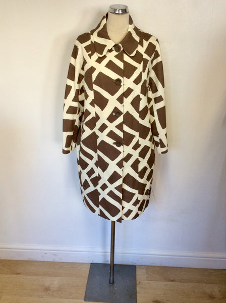 BRAND NEW BETTY JACKSON BLACK MOSAIC PRINT BROWN & WHITE COTTON COAT SIZE 14