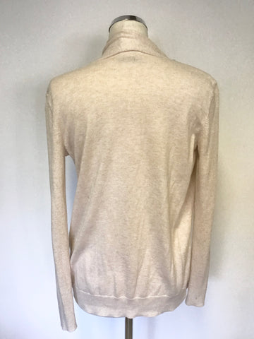ALL SAINTS NUDE PINK WRAP ACROSS LONG SLEEVE CARDIGAN SIZE M