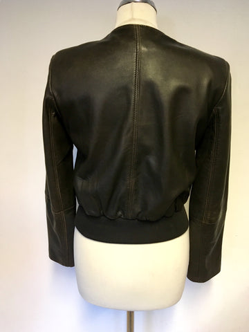 FRENCH CONNECTION DARK BROWN LEATHER ZIP FASTEN JACKET SIZE 10