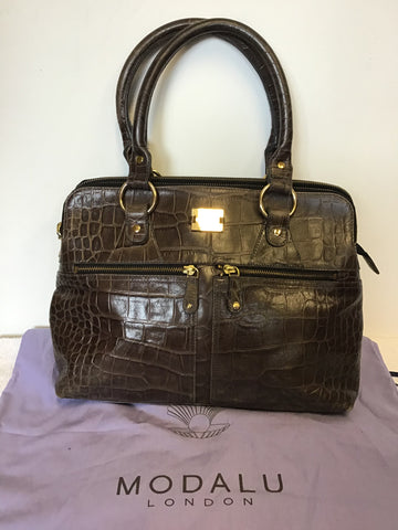 MODALU PIPPA CHOCOLATE BROWN CROC LEATHER TOTE BAG