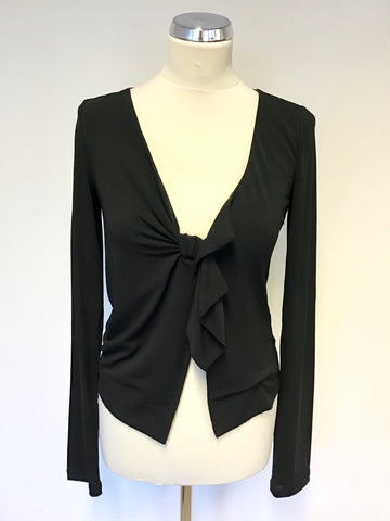 VIVIENNE WESTWOOD BLACK TIE FRONT LONG SLEEVE TOP SIZE S