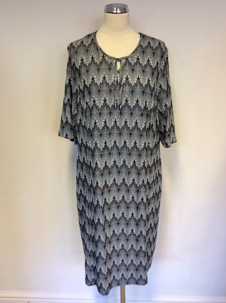 BRAND NEW BARBARA LEBEK GREEN FJORD PRINT FINE KNIT STRETCH DRESS SIZE 20
