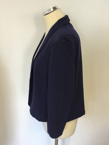 JAEGER NAVY BLUE 3/4 SLEEVE JACKET SIZE 14
