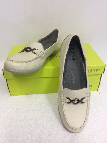 BRAND NEW HOTTER GRACIE WHITE LEATHER LOAFERS SIZE 6/39