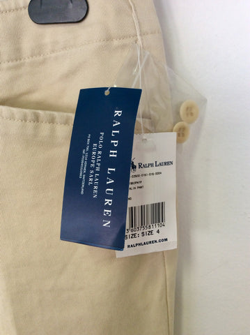 BRAND NEW RALPH LAUREN NATURAL SAND NATALIA PANT MILITARY CHINO TROUSERS SIZE 8