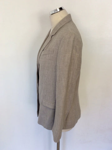 JOSEPH OATMEAL LINEN,WOOL & SILK BLEND JACKET SIZE XL