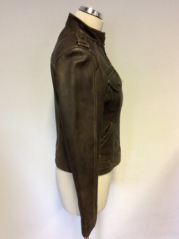 ARMA WOMEN BROWN LEATHER ZIP UP JACKET SIZE 12