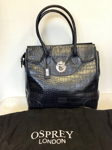 OSPREY BY GRAEME ELLISDON DARK BLUE MOCK CROC LARGE LEATHER TOTE/WORK BAG