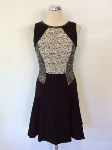 COAST BLACK & IVORY MARL TOP OCCASION DRESS SIZE 8