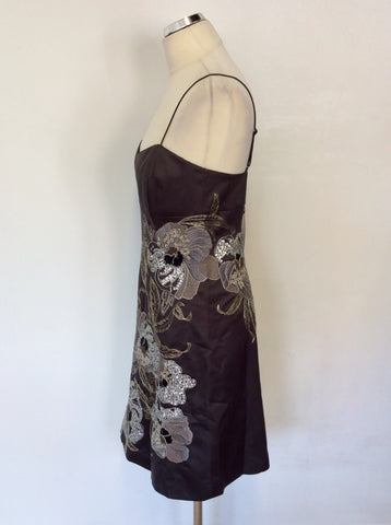 BRAND NEW KAREN MILLEN DARK GREY EMBROIDERED BEADED & SEQUINNED DRESS SIZE 12