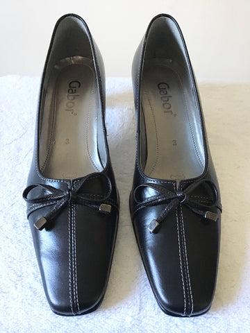 BRAND NEW GABOR BLACK BOW TRIM LEATHER HEELS SIZE 3/35.5