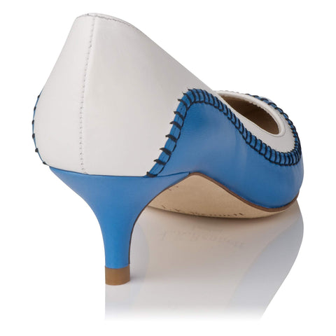 BRAND NEW LK BENNETT ANITA BLUE & WHITE LEATHER HEELS SIZE 4/37