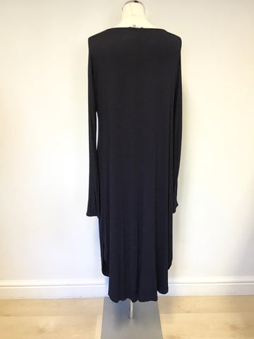 ACEVOG NAVY BLUE STRETCH JERSEY LONG SLEEVE MIDI DRESS SIZE M