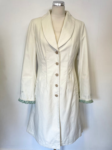 BALTIC BY NOA NOA IVORY & GREEN TRIM QUILTED PADDED LINING KNEE LENGTH  COAT SIZE S