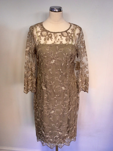 BRAND NEW GINA BACCONI TRUFFLE LACE SPECIAL OCCASION DRESS SIZE 18