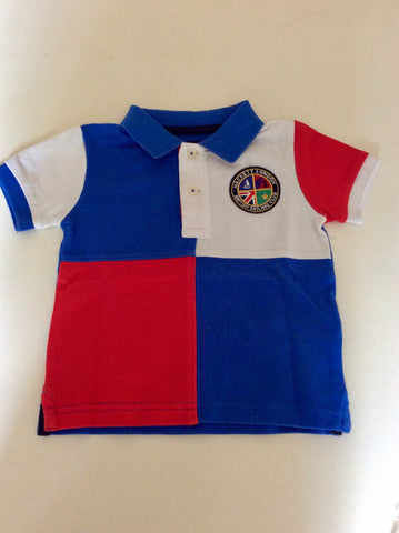 HACKETT RED,WHITE & BLUE SHORT SLEEVE POLO SHIRT AGE 12 MONTHS