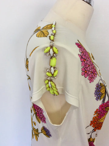 BRAND NEW BEATRIZ LUCINI WHITE & MULTI COLOURED PRINT JEWEL SHOULDER TRIM DRESS SIZE M