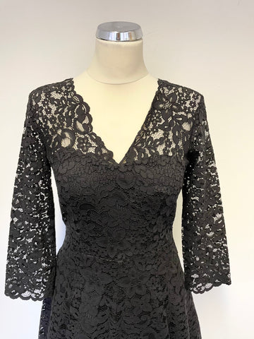 & OTHER STORIES BLACK LACE 3/4 SLEEVE FIT & FLARE OCCASION DRESS SIZE 8