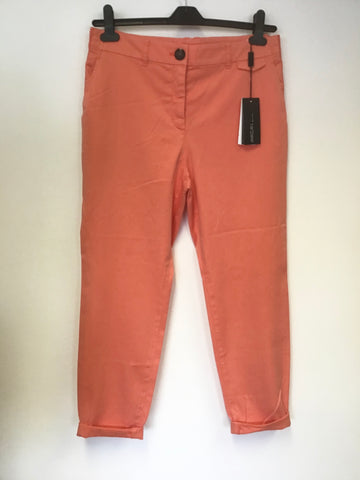 BRAND NEW MARCCAIN CORAL COTTON TAPERED LEG TROUSERS SIZE N5 UK 16