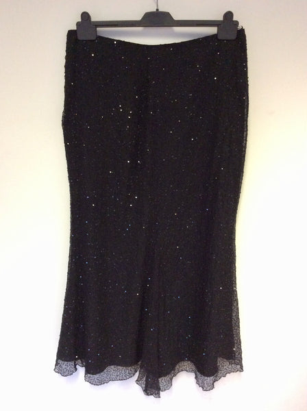 BRAND NEW GINA BACCONI BLACK SILK SEQUINNED LONG EVENING SKIRT SIZE 18