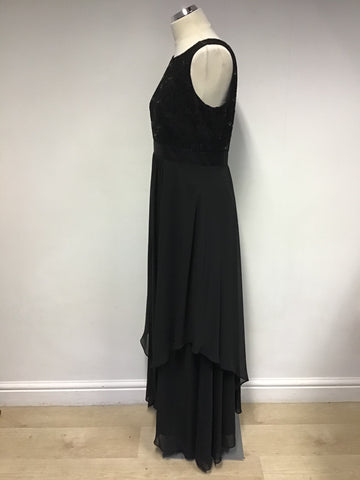 ROMAN BLACK LACE & SEQUIN TOP LONG TIERED EVENING DRESS SIZE 14