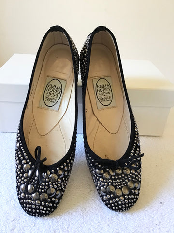 EMMA HOPE BLACK SUEDE & METAL STUDDED BALLET FLATS SIZE 2.5 / 35