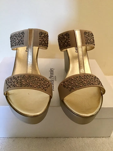 BRAND NEW RUSSELL & BROMLEY BELLABELLA PEWTER METALLIC WEDGE HEEL MULE SANDALS SIZE 7/40