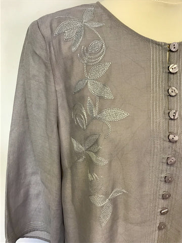 JACQUES VERT GREY EMBROIDERED DUSTER COAT SIZE 18