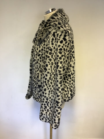 BETTY JACKSON BLACK GREY LEOPARD PRINT FAUX FUR JACKET SIZE 16