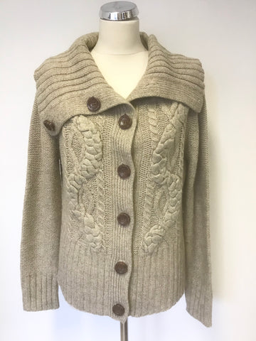 PARAPHASE OATMEAL BEIGE CHUNKY CABLE KNIT CARDIGAN SIZE XL