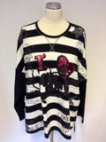 BRAND NEW FRAPP BLACK & WHITE STRIPED SEQUIN TRIM SWEATSHIRT TOP SIZE 48 UK 20
