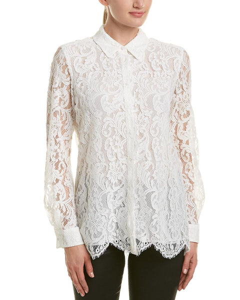 REISS YASI OFF WHITE FLORAL LACE COLLARED LONG SLEEVE BLOUSE SIZE 14