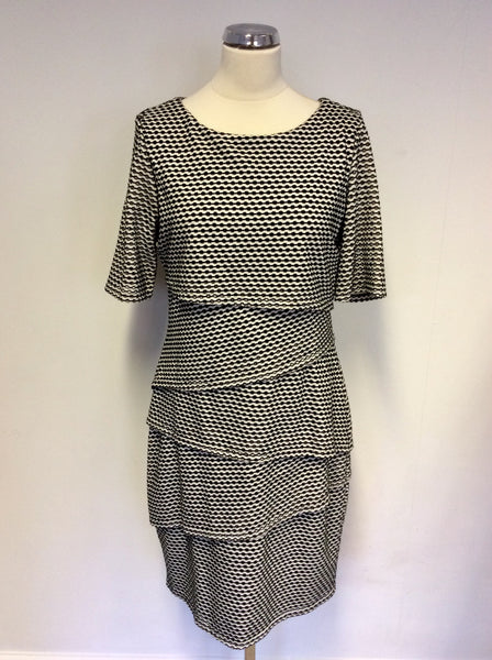 BRAND NEW WITH TAGS JOSEPH RIBKOFF BLACK & WHITE PRINT STRETCH TIERED DRESS SIZE 16