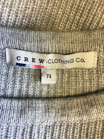 CREW CLOTHING GREY & WHITE STRIPED WOOL BLEND JUMPER SIZE 14