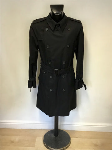 AQUASCUTUM BLACK KNEE LENGTH BELTED TRENCH COAT SIZE 42R