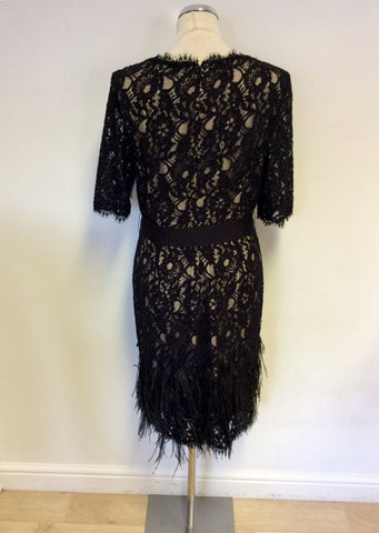 BRAND NEW NUE BY SHANI BLACK LACE & FEATHER TRIM DRESS SIZE 16
