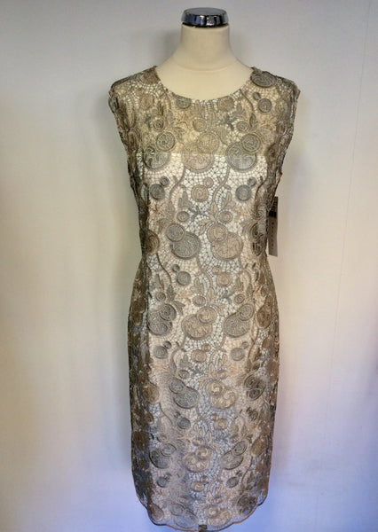 BRAND NEW GINA BACCONI SILVER GREY & PALE GOLD LACE SPECIAL OCCASION DRESS SIZE 18