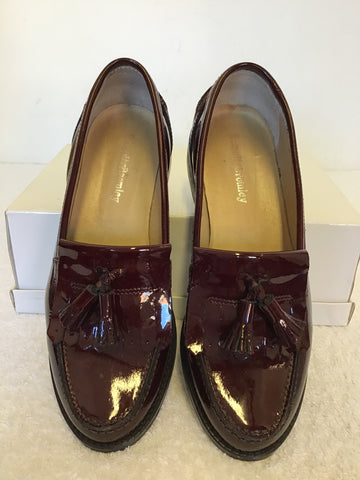 RUSSELL & BROMLEY BURGUNDY PATENT LEATHER LOAFERS SIZE 5/38