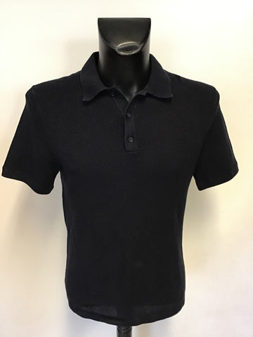 REISS HECTOR NAVY BLUE COTTON SHORT SLEEVE POLO SHIRT SIZE M