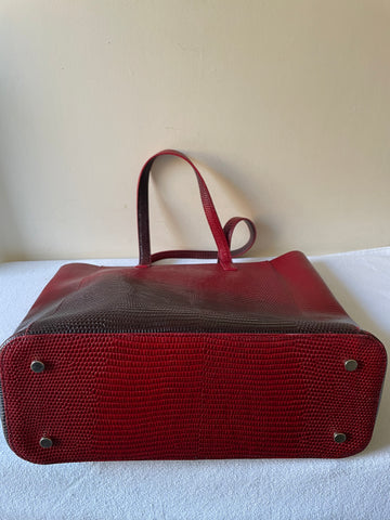LK BENNETT DEEP RED OMBRÉ LEATHER LARGE SHOPPER/ SHOULDER BAG