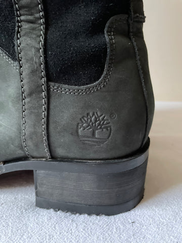 TIMBERLAND BLACK LEATHER & SUEDE PULL ON  STYLE BOOTS SIZe 6.5/39.5