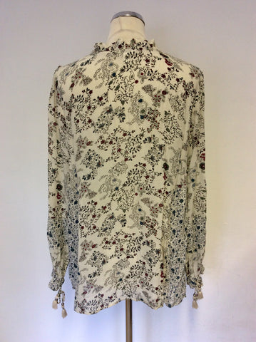 BRAND NEW MONSOON CREAM FLORAL PRINT TASSEL TRIM TOP SIZE L