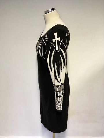 ALICE BY TEMPERLEY BLACK & WHITE PRINT FINE KNIT DRESS SIZE L