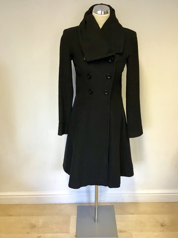 REISS BLACK WOOL & CASHMERE BLEND FIT & FLARE ZIP UP COAT SIZE XS