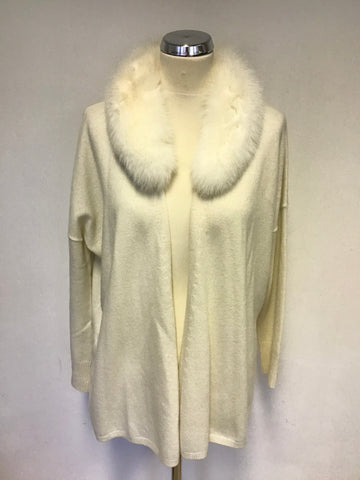 LAUREL IVORY WOOL,SILK & CASHMERE CARDIGAN WITH REAL BLUE FROST FUR COLLAR SIZE 8