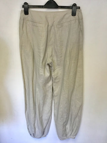 NOA NOA BEIGE LINEN PLEATED TAPERED HEM TROUSERS SIZE S