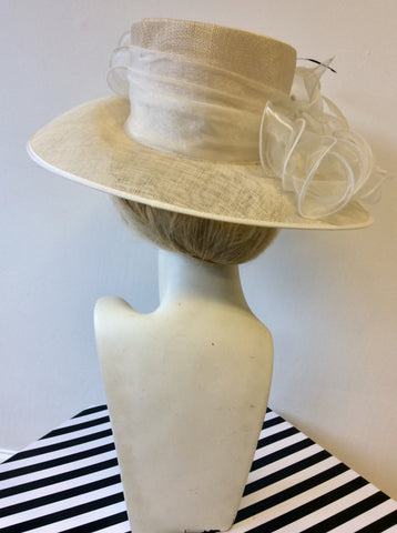 NIGEL RAYMENT IVORY & WHITE WITH BLACK FEATHER TRIM FORMAL HAT