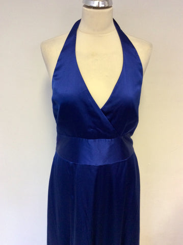 BRAND NEW COAST BLUE SILK HALTER NECK MAXI DRESS SIZE 16