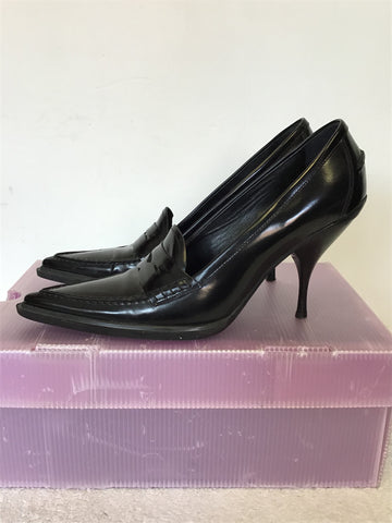 MIU MIU BLACK LEATHER STILETTO HEELS SIZE 6.5 / 39.5