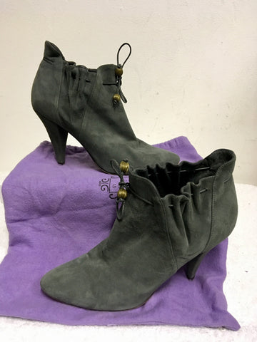 LULU GUINNESS GREY SUEDE DRAWSTRING TIE ANKLE BOOTS SIZE 6/39